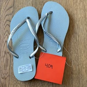 Havaianas, 35-36, grey, silver thin strap, new